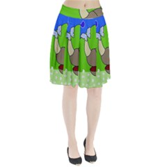 Butterfly And Rhino Pleated Skirt