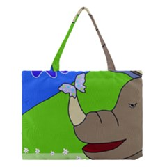 Butterfly and rhino Medium Tote Bag