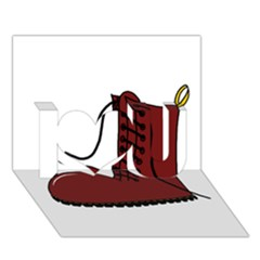 Boot I Love You 3D Greeting Card (7x5)