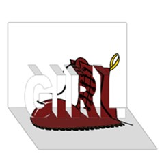 Boot GIRL 3D Greeting Card (7x5)