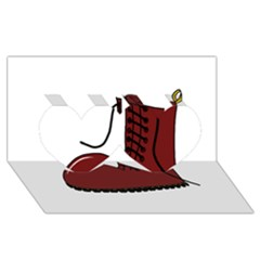 Boot Twin Hearts 3D Greeting Card (8x4)