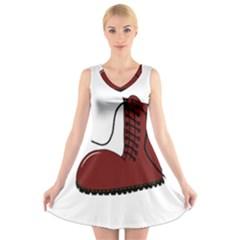 Boot V-Neck Sleeveless Skater Dress