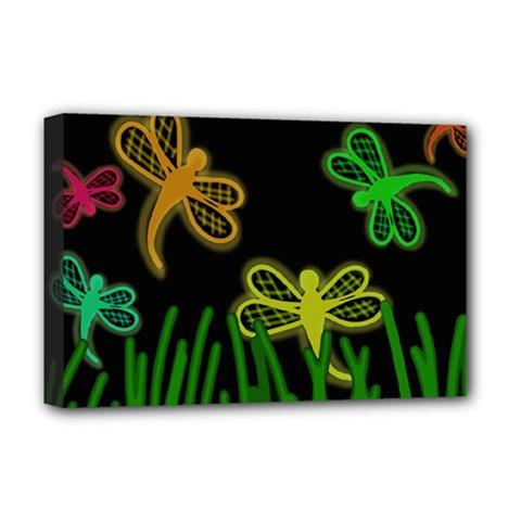 Neon dragonflies Deluxe Canvas 18  x 12