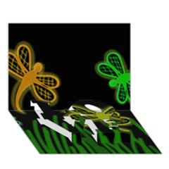 Neon dragonflies LOVE Bottom 3D Greeting Card (7x5)