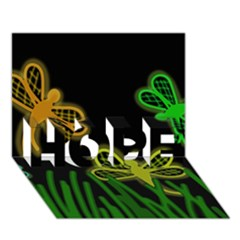 Neon dragonflies HOPE 3D Greeting Card (7x5)