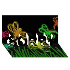 Neon dragonflies SORRY 3D Greeting Card (8x4)