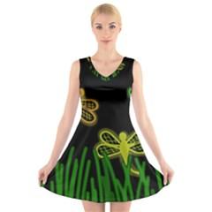 Neon dragonflies V-Neck Sleeveless Skater Dress