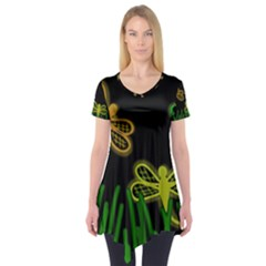 Neon dragonflies Short Sleeve Tunic