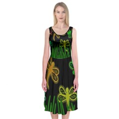 Neon dragonflies Midi Sleeveless Dress