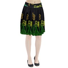 Neon dragonflies Pleated Skirt