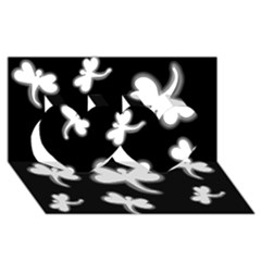 White dragonflies Twin Hearts 3D Greeting Card (8x4)