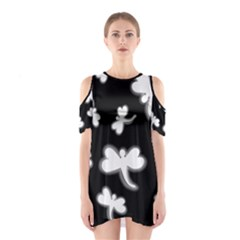 White Dragonflies Cutout Shoulder Dress