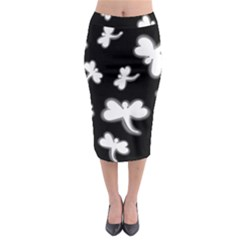 White dragonflies Midi Pencil Skirt
