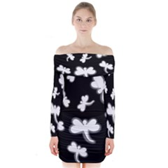 White dragonflies Long Sleeve Off Shoulder Dress