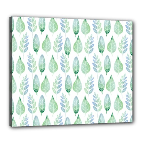 Green Watercolour Leaves Pattern Canvas 24  X 20