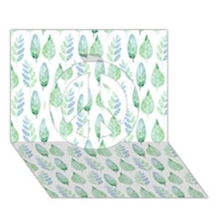 Green Watercolour Leaves Pattern Peace Sign 3D Greeting Card (7x5)