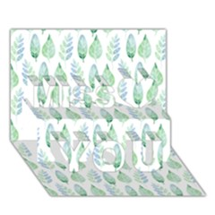 Green Watercolour Leaves Pattern Miss You 3D Greeting Card (7x5)