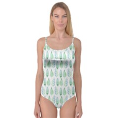 Green Watercolour Leaves Pattern Camisole Leotard