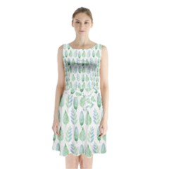 Green Watercolour Leaves Pattern Sleeveless Chiffon Waist Tie Dress