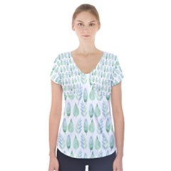 Green Watercolour Leaves Pattern Short Sleeve Front Detail Top
