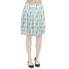 Green Watercolour Leaves Pattern Pleated Skirt