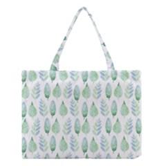 Green Watercolour Leaves Pattern Medium Tote Bag