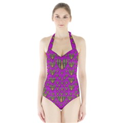 Love In Colors And Heart In Rainbows Halter Swimsuit