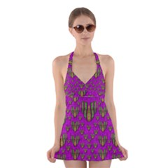 Love In Colors And Heart In Rainbows Halter Swimsuit Dress