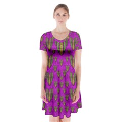 Love In Colors And Heart In Rainbows Short Sleeve V Neck Flare Dress