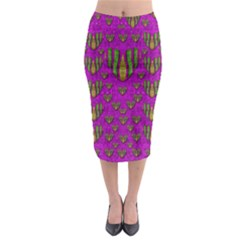 Love In Colors And Heart In Rainbows Midi Pencil Skirt