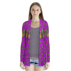 Love In Colors And Heart In Rainbows Drape Collar Cardigan