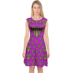 Love In Colors And Heart In Rainbows Capsleeve Midi Dress