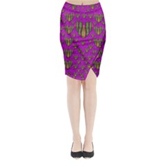 Love In Colors And Heart In Rainbows Midi Wrap Pencil Skirt