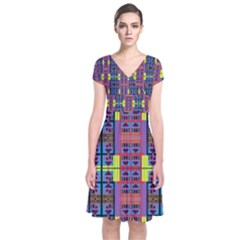Home Ina House Short Sleeve Front Wrap Dress