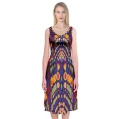 Disco Pattern Midi Sleeveless Dress