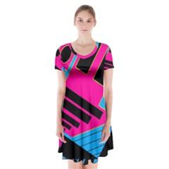 Olool Short Sleeve V-neck Flare Dress