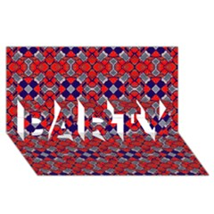 Geometric Pattern Red And Gray, Blue PARTY 3D Greeting Card (8x4)
