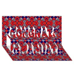 Geometric Pattern Red And Gray, Blue Congrats Graduate 3D Greeting Card (8x4)