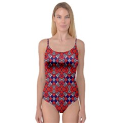 Geometric Pattern Red And Gray, Blue Camisole Leotard