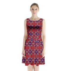 Geometric Pattern Red And Gray, Blue Sleeveless Chiffon Waist Tie Dress