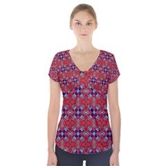 Geometric Pattern Red And Gray, Blue Short Sleeve Front Detail Top