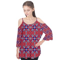 Geometric Pattern Red And Gray, Blue Flutter Tees