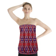 Geometric Pattern Red And Gray, Blue Strapless Top