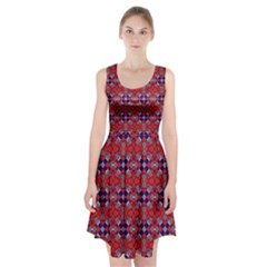 Geometric Pattern Red And Gray, Blue Racerback Midi Dress