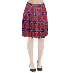 Geometric Pattern Red And Gray, Blue Pleated Skirt