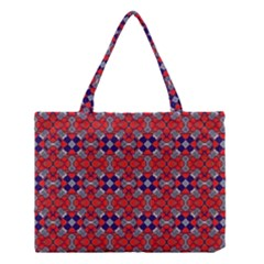 Geometric Pattern Red And Gray, Blue Medium Tote Bag