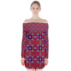 Geometric Pattern Red And Gray, Blue Long Sleeve Off Shoulder Dress