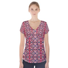 Rhomboid Pattern Short Sleeve Front Detail Top