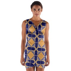 Squares   Geometric Pattern Wrap Front Bodycon Dress