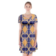 Squares   Geometric Pattern Short Sleeve V Neck Flare Dress